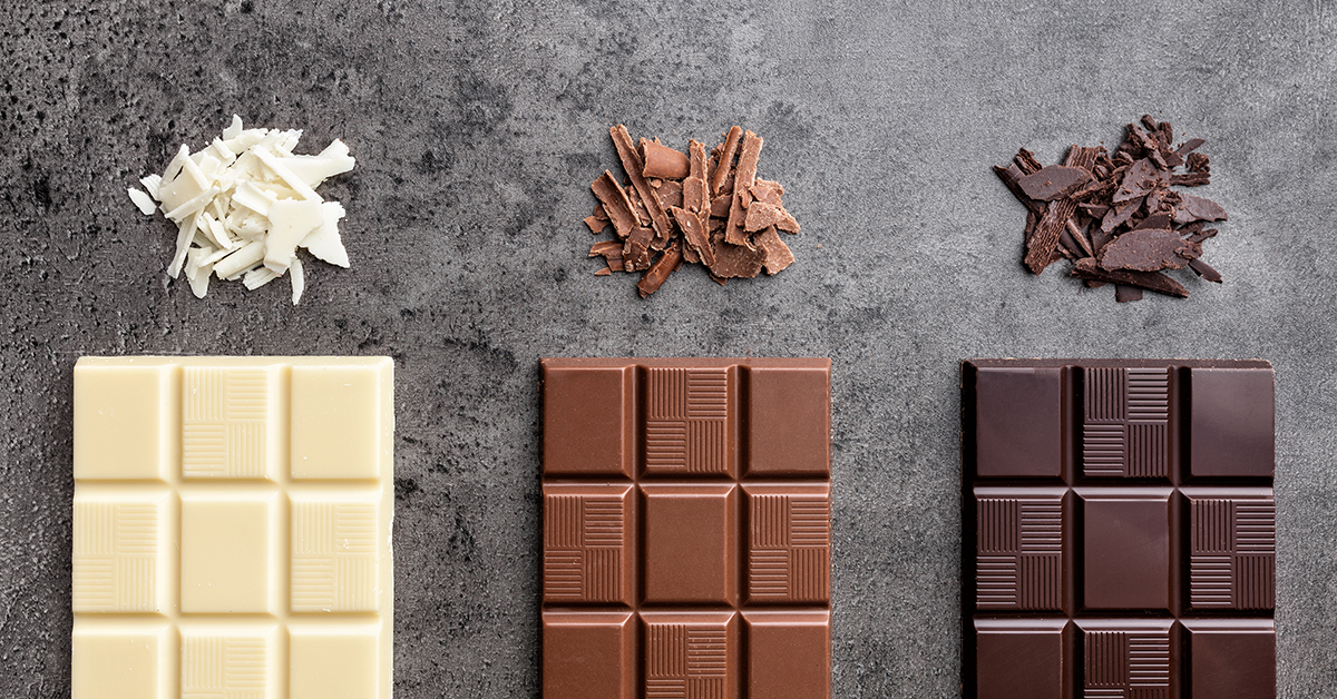 White, dark, and milk chocolate bars